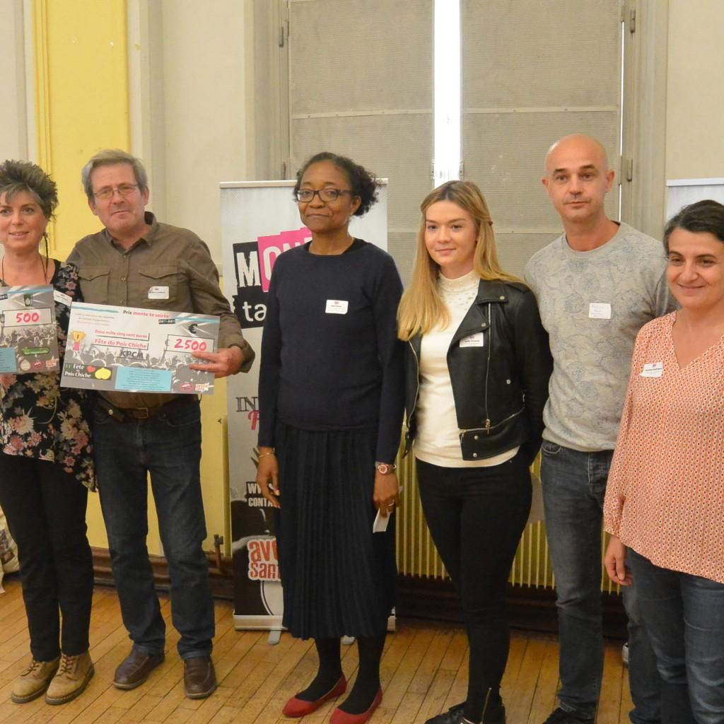 De gauche à droite : la présidente du Kollectif du Pois Chiche Masqué, Gina Zozor de la MILDECA et Franck Moulius de Fêtez Clairs